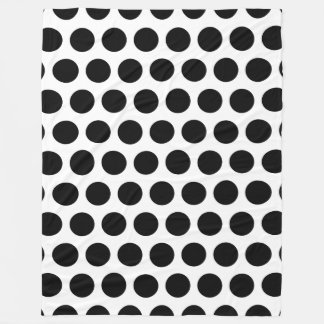 Black Polka Dots Fleece Blanket