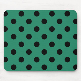 Black polka dots in green mouse pad