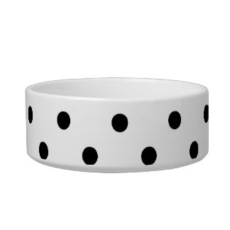 black polka dots in white background bowl