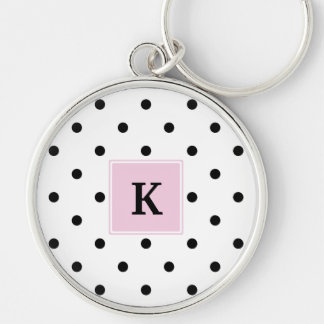 Black Polka Dots Monogram Silver-Colored Round Keychain