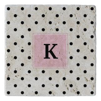 Black Polka Dots Monogram Trivet