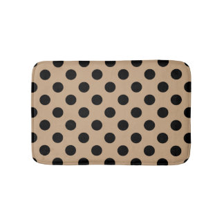 Black polka dots on beige bath mat