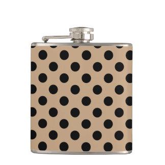 Black polka dots on beige hip flask