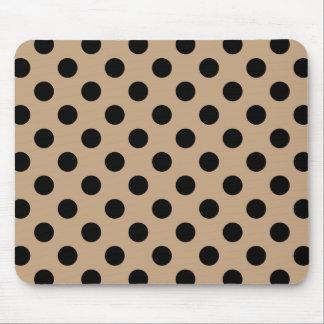 Black polka dots on beige mouse pad