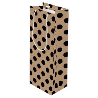 Black polka dots on beige wine gift bag