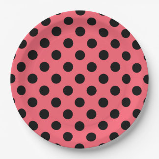 Black polka dots on coral 9 inch paper plate
