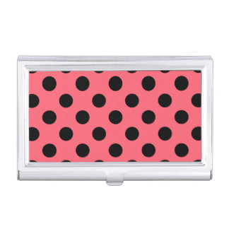 Black polka dots on coral business card case