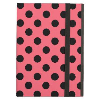 Black polka dots on coral iPad air cases