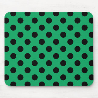 Black polka dots on fresh green mouse pad