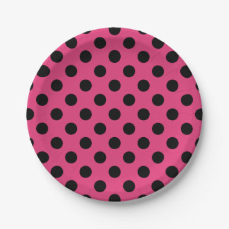 Black polka dots on fuchsia 7 inch paper plate