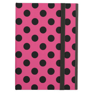 Black polka dots on fuchsia case for iPad air