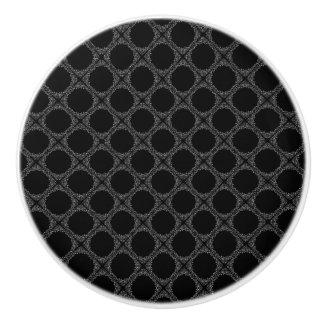 Black Polka Dots On Gray Retro Pattern Ceramic Knob