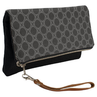 Black Polka Dots On Gray Retro Pattern Clutch