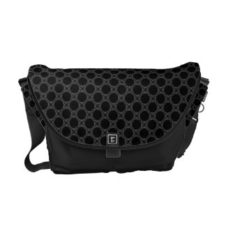 Black Polka Dots On Gray Retro Pattern Commuter Bag