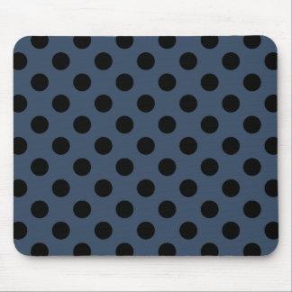 Black polka dots on grey-blue mouse pad