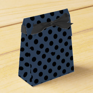 Black polka dots on grey-blue party favor boxes