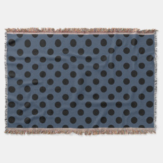 Black polka dots on grey-blue throw blanket