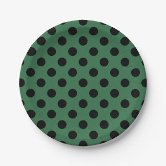 Black polka dots on kelly green 7 inch paper plate