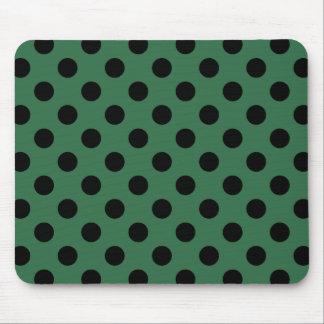 Black polka dots on kelly green mouse pad