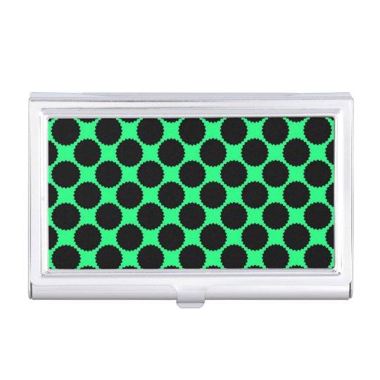 Black Polka Dots On Kiwi Green Business Card Holder