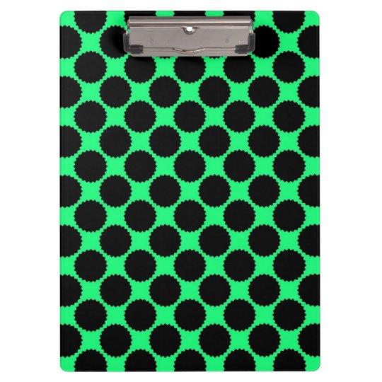 Black Polka Dots On Kiwi Green Clipboard