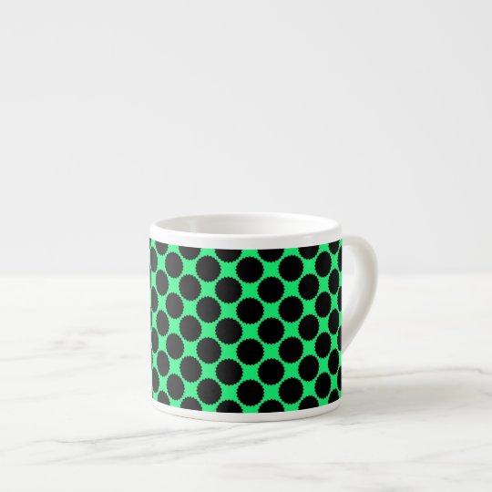 Black Polka Dots On Kiwi Green Espresso Cup