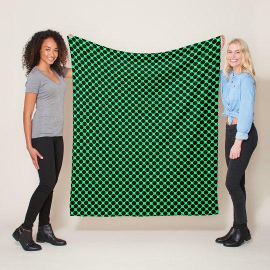 Black Polka Dots On Kiwi Green Fleece Blanket