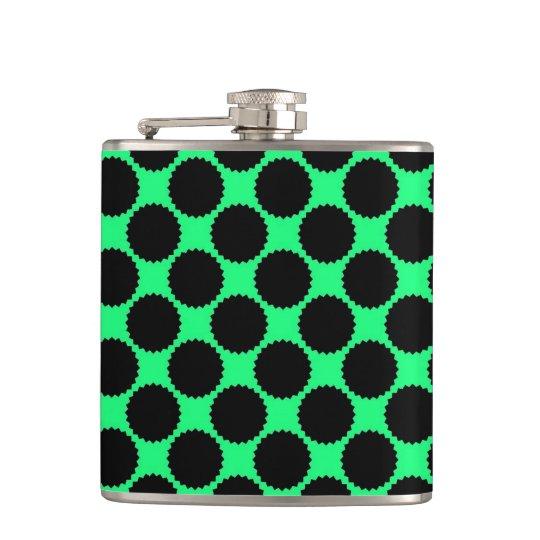 Black Polka Dots On Kiwi Green Hip Flask