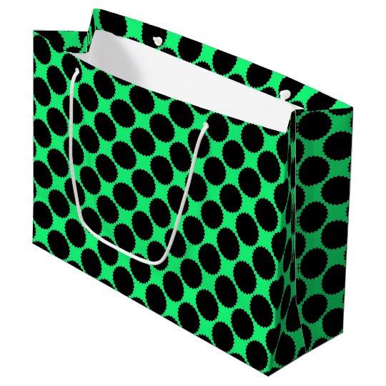 Black Polka Dots On Kiwi Green Large Gift Bag