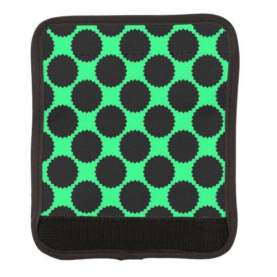 Black Polka Dots On Kiwi Green Luggage Handle Wrap