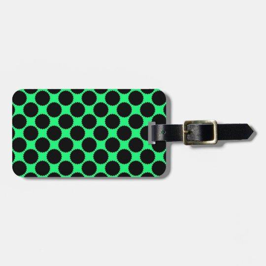 Black Polka Dots On Kiwi Green Luggage Tag