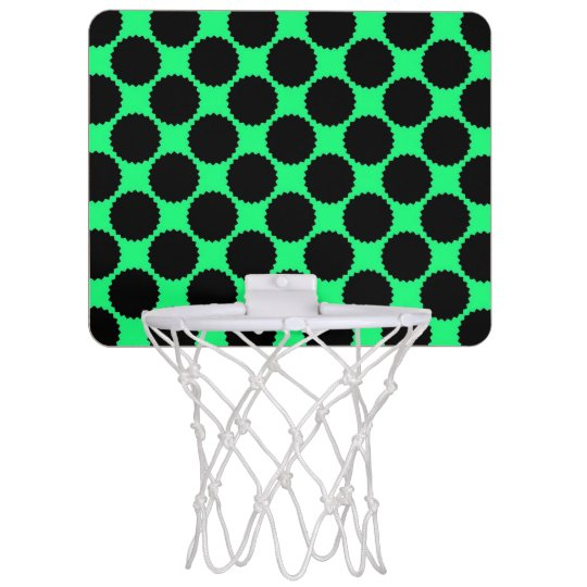 Black Polka Dots On Kiwi Green Mini Basketball Hoop