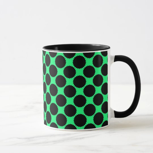 Black Polka Dots On Kiwi Green Mug