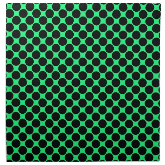 Black Polka Dots On Kiwi Green Napkin