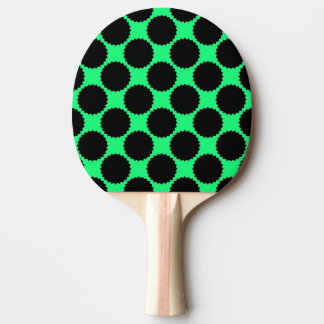 Black Polka Dots On Kiwi Green Ping Pong Paddle