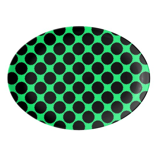 Black Polka Dots On Kiwi Green Porcelain Serving Platter