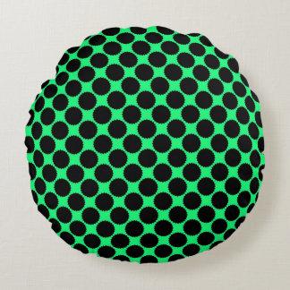 Black Polka Dots On Kiwi Green Round Pillow