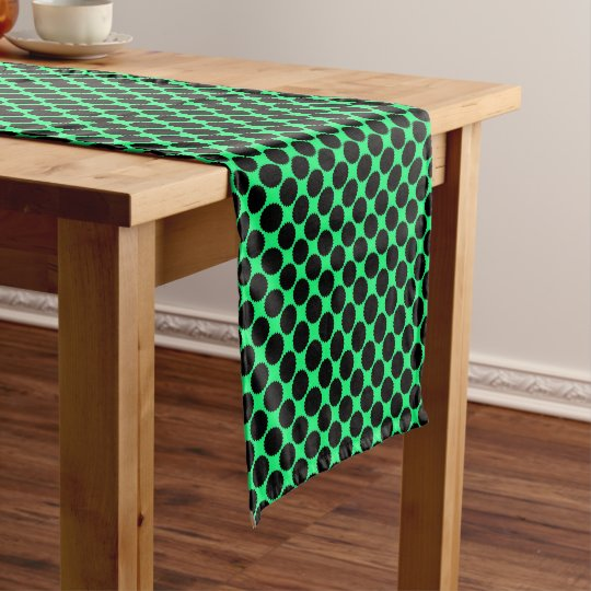 Black Polka Dots On Kiwi Green Short Table Runner