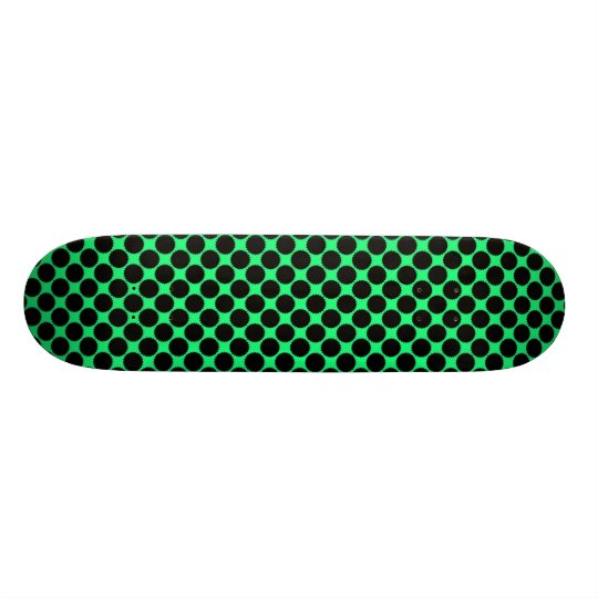 Black Polka Dots On Kiwi Green Skate Deck