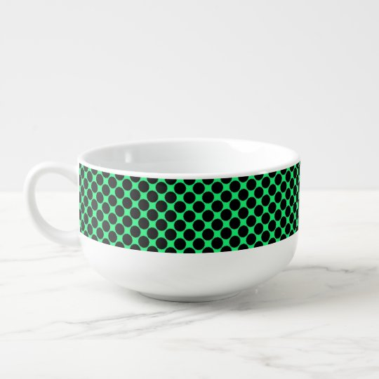 Black Polka Dots On Kiwi Green Soup Mug