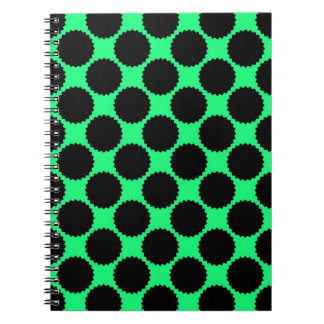 Black Polka Dots On Kiwi Green Spiral Notebook