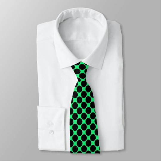 Black Polka Dots On Kiwi Green Tie