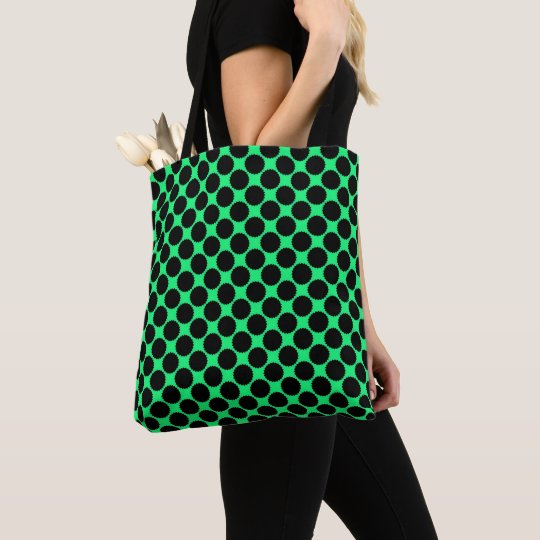 Black Polka Dots On Kiwi Green Tote Bag