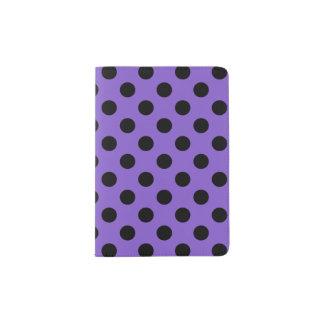 Black polka dots on lavender passport holder