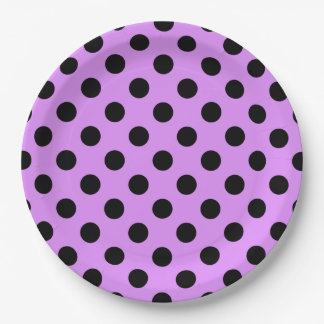 Black polka dots on lilac 9 inch paper plate