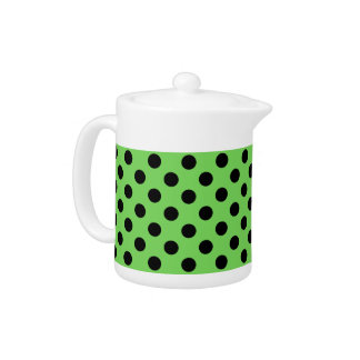 Black polka dots on lime green