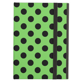 Black polka dots on lime green cover for iPad air