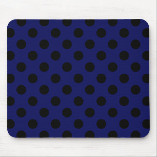 Black polka dots on navy blue mouse pad