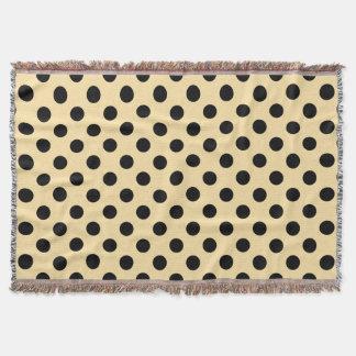 Black polka dots on pale yellow throw
