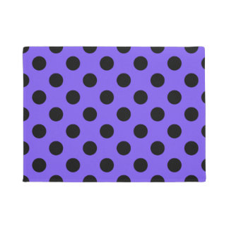 Black polka dots on periwinkle doormat